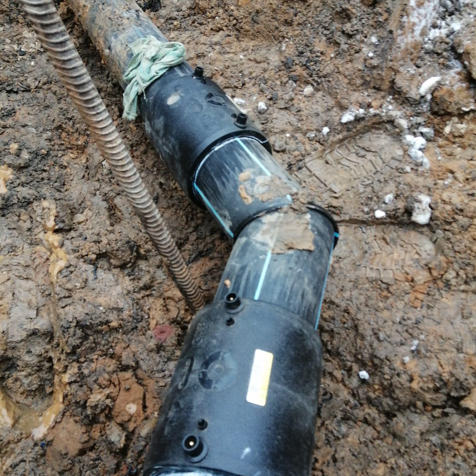 монтаж водоснабжения для школы - угол поворота 45 градусов